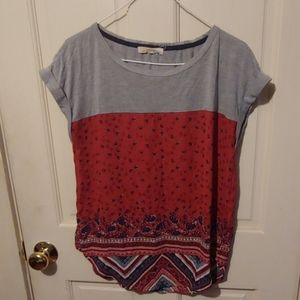 Orange Aztec/Floral Patterned t-shirt